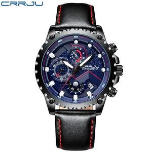 Image 2 - New Fashion Sports Quartz Men Watches CRRJU Relogio Masculino Clock Mens Top Brand Luxury Military Leather Waterproof Watch men