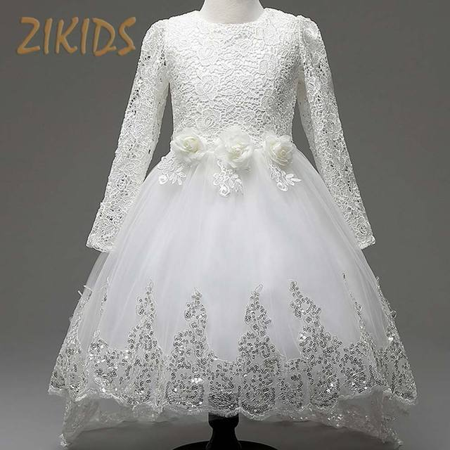 Long Sleeve Flower Girls Dresses Sequined Princess Dress for Party Wedding Organza Trailing Girl Clothing Kids Clothes 2016 Sale