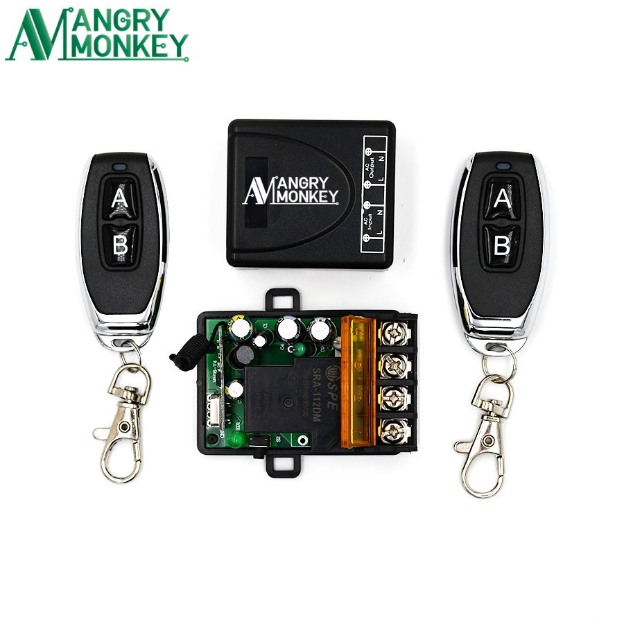 Angry Monkey 433Mhz RF Remote Relay Switch AC 220V 1CH 30A Receiver Remote And 2 Pieces Remote Control 433 Mhz For Water Pump