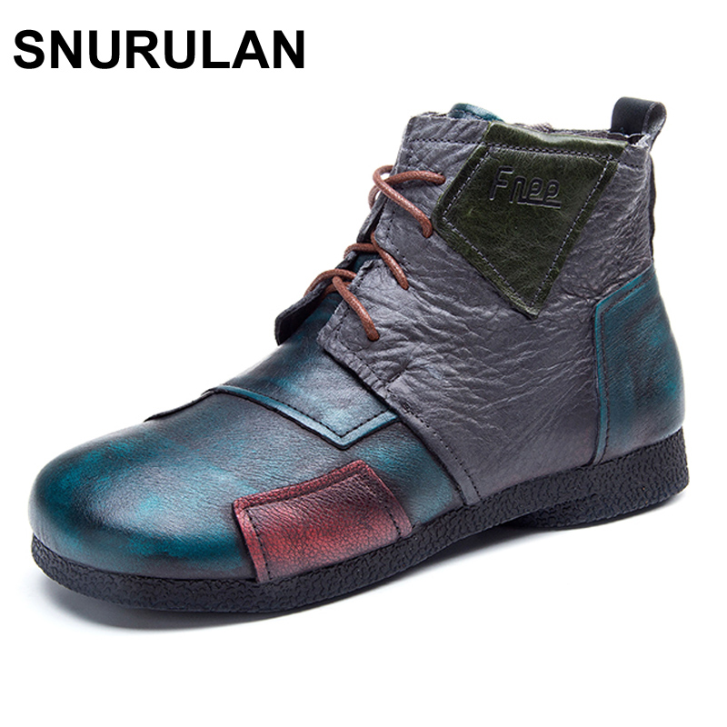 SNURULAN 2017 Fashion Handmade Boots For Women Ankle Shoes Vintage Mom Shoes Folk Style Sapphire Genuine Leather Women Boots original handmade autumn women genuine leather shoes cowhide loafers real skin shoes folk style ladies flat shoes for mom sapato