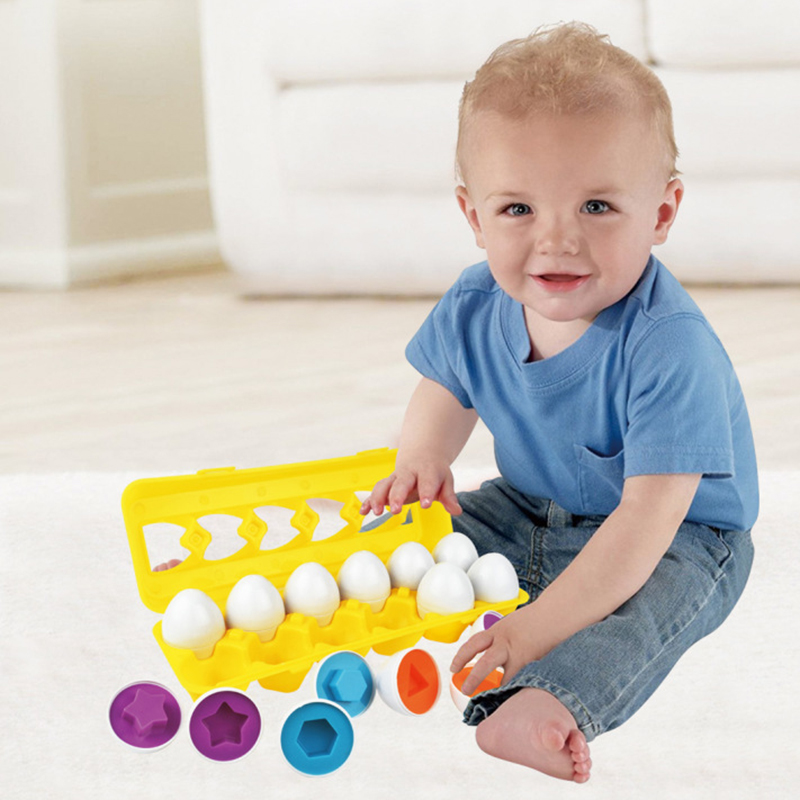 12pc/set Baby Intelligent Eggs Toys Pretend Puzzle Smart Eggs Match Puzzles For Learning Color Shape Education Toys For Children