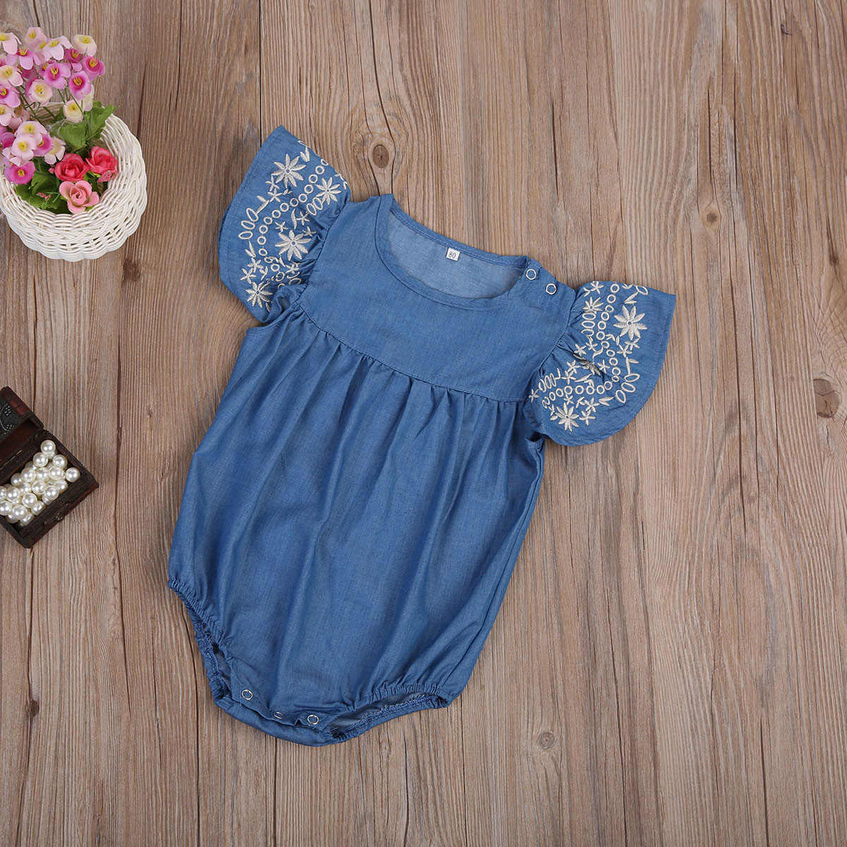 6c449e98752 ... Baby Girl Romper Denim Romper Ruffles Sleeves Solid Blue Newborn Baby  Rompers Toddler Kids Jumpsuit Outfits ...
