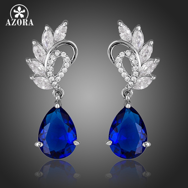 AZORA Elegant Klar og Mørk Blå Farge Top AAA + Kubisk Zirkonium Water Drop Earrings TE0127