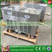 fry ice cream machine fried ice roll pan machine flat pan double pan rolled fried ice cream rolls machine