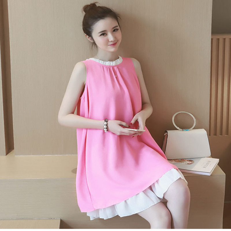 2016 summer maternity dress chiffon sleeveless clothes for pregnant women vest loose long Pregnancy dress Vestido Amarelo