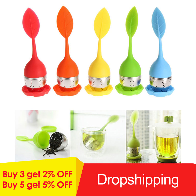 6 Colors Silicone Tea Infuser Reusable Tea Strainer Sweet Leaf With Drop Tray Novelty Tea Ball Herbal Spice Filter Tea Tool New