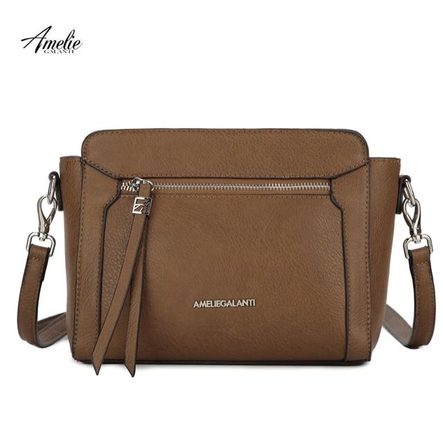 AMELIE GALANTI Women Leather Messenger Bag for Women 2018 Small Bag Shoulder & Crossbody Bags Fashion Large capacity Women Bag