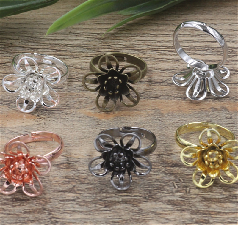 BoYuTe 20Pcs 6 Colors 18*7MM Filigree Flower Ring Base Setting Adjustable Vintage Jewelry Findings