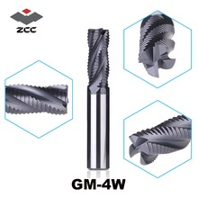 1PC ZCC.CT GM 4W series tungsten carbide 4 flute  end mills for  side milling  corrugated edge end mill roughing milling cutters