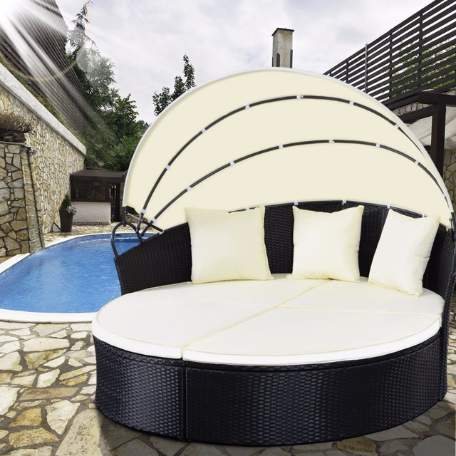 Giantex Outdoor Patio Sofa Furniture Round Retractable Canopy Daybed Black Wicker Rattan Hw51820