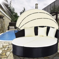 Giantex Outdoor Patio Sofa Furniture Round Retractable Canopy Daybed Black Wicker Rattan Outdoor Furniture HW51820+