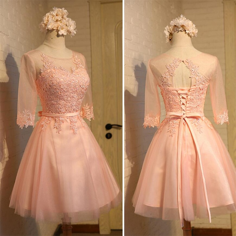 Latest Short Evening Dresses with Appliques Elegant Bride Gown Women Girls Ball Prom Party Homecoming/Graduation Formal Dress