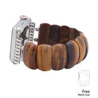 2019 Fashion Tiger Eye Watchband iWatch Women Natural Stone Elastic Watch Bands 38mm/42mm Handmade Apple Watch Strap Bracelet