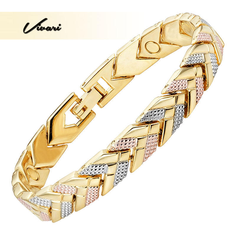 Vivari 2018 Trendy Health Magnetic Bracelet For Women 3-Tone Color Gold Color Arrow Charm Bracelets Fashion Gift New Jewelry 38 2018 new arrivel fashion magnetic health men s jewelry bracelet trendy titanium chain link charm bracelets bangles for womens