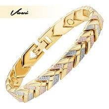 ФОТО vivari 2017 trendy health 3-tone color gold magnetic women bracelet arrow bangle fashion ladies jewelry gift charm