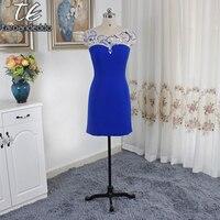 Scoop декольте изысканной ручной Бисер Королевский синий короткий оболочка платье Homecoming Cutout Back Mini Длина спандекс партии платья