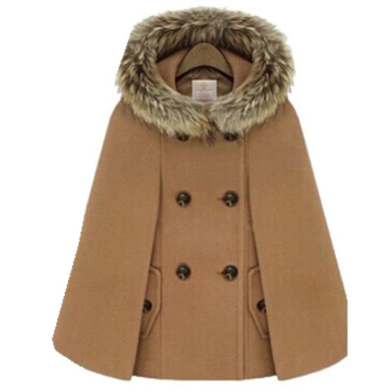 Осенне-зимний двубортный плащ-накидка, шерстяное пальто для женщин, красное твидовое пончо с меховым капюшоном, Толстая теплая Свободная верхняя одежда с рукавами «летучая мышь» - Цвет: Хаки