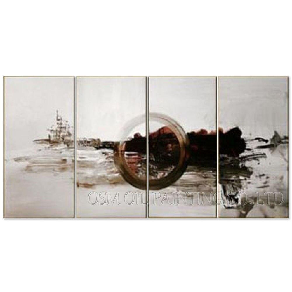 75 06 52 De Réduction Top Artiste Fait à La Main 4 Panneaux Multiples Peinture à L Huile Abstraite Sur Toile Abstraite Argent Et Ivoire Couleurs Art