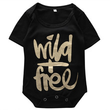 Cotton Infant Kids Baby Girls Boys Wild Free Casual Bodysuit,Newborn Babies Boy girl Golden Letter bodysuits, Outfits Clothes