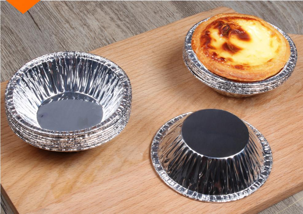 50pcs Disposable Baking Aluminum Foil Small Bowl,Tinfoil, High Temperature Metal Small Bowl, Cake Egg Tart Aluminum Foil Tray.