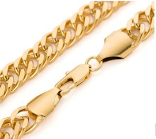 """Large 60cm long double curb cuban men gold chain Burly men's solid yellow gold GF Thick necklace chain 24"""" 12mm 90grams"""