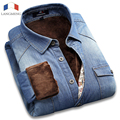 LANGMENG 2016 winter brand mens dress jeans shirt warm denim casual shirts long sleeve 100% cotton outwear male shirt camisa