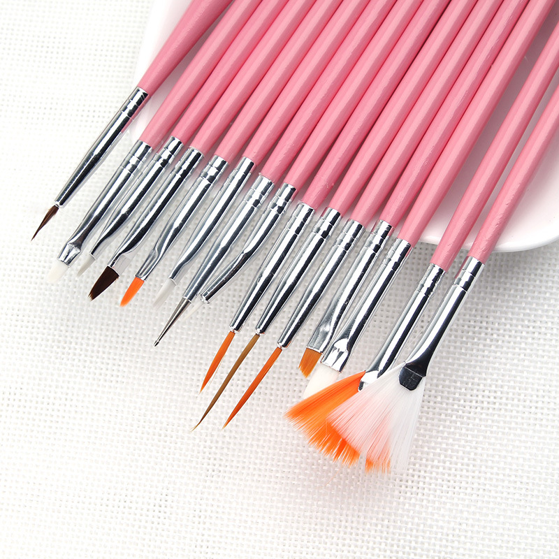 15 Pcs/set Art Design Painting Tool Pen Polish Brush Set Kit Professional Nail Brushes Styling Nail Art Tools Bo