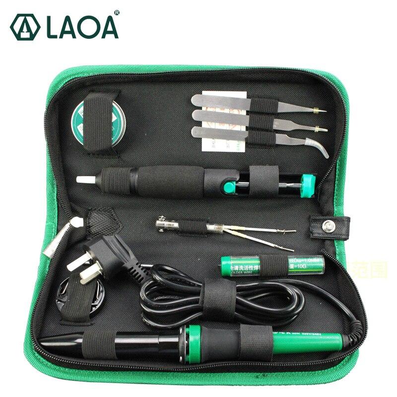 Laoa 30 w 220 v/110 v conjunto de ferro de solda elétrica eletrônico kit ferramentas de reparo de arma de solda com pinças de pasta de solda fio de estanho