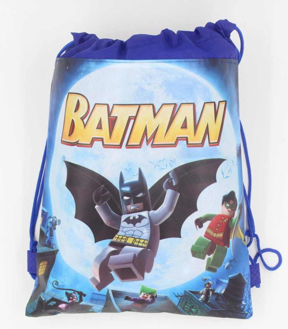 1pcs/lot Baby Shower Batman Lego Cartoon Drawstring Backpack Kids Favor Shopping/School Bags for Boy Party Birthday Supplies