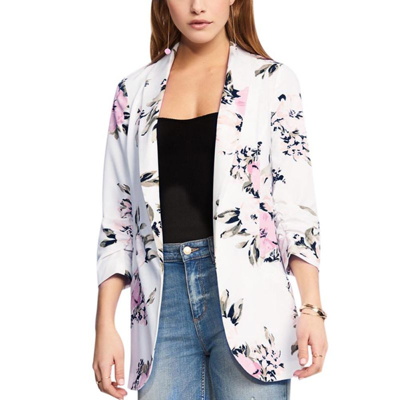 Women Flower Print Blazer Fashion Notched Collar Long Sleeve Coat Female Outerwear Ladies Blazers Work Wear chic tops
