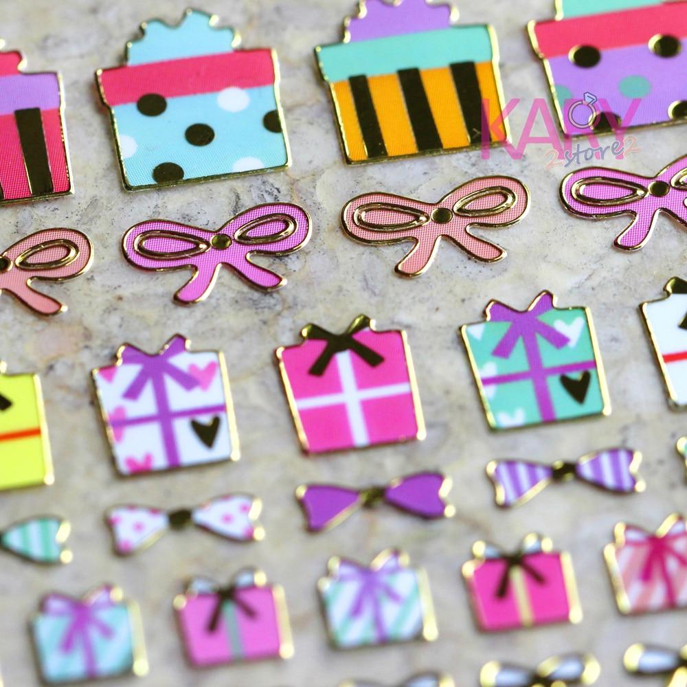 Mini Colorful Gifts Present Boxes Silk Ribbon Retro Scrapbooking Reward Kids Children Shiny Gilded Paper Foil Stickers Craft