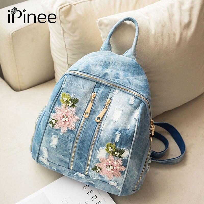 IPinee Mode Femmes sacs à dos Pour Fille Fleur Broderie sacs en denim Adolescents cartable nouveau jouet Feminina Sac À Dos
