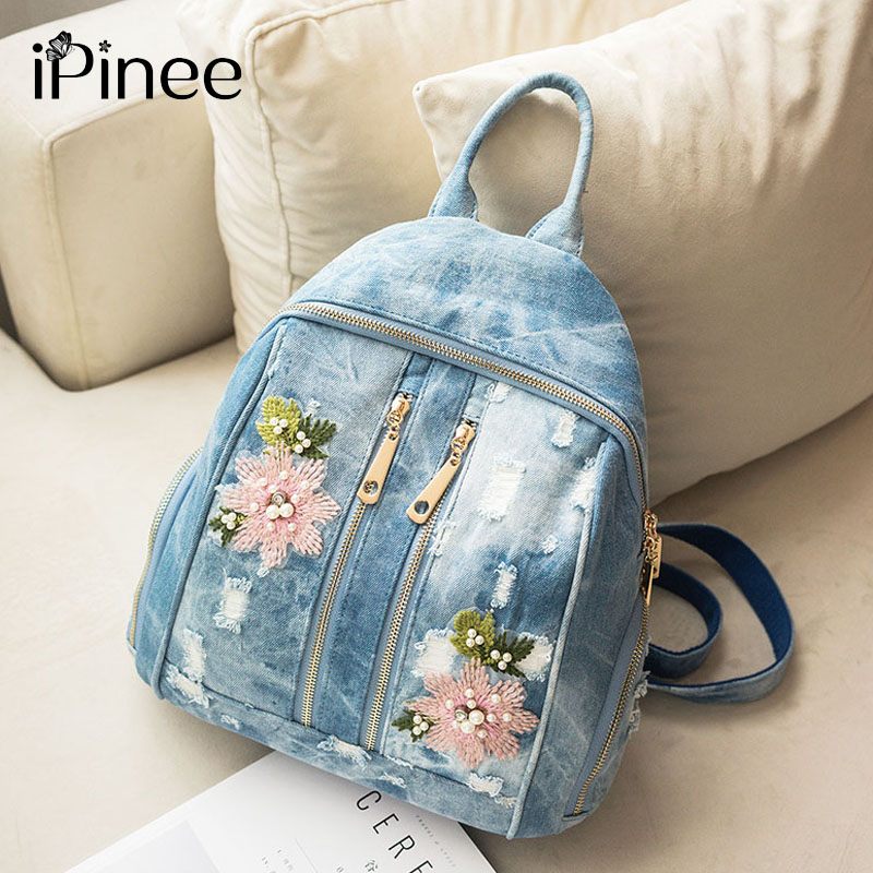 iPinee Fashion Women backpacks For Girl Flower Embroidery Denim bags Teenagers School Bag travel Bag Feminina Knapsack