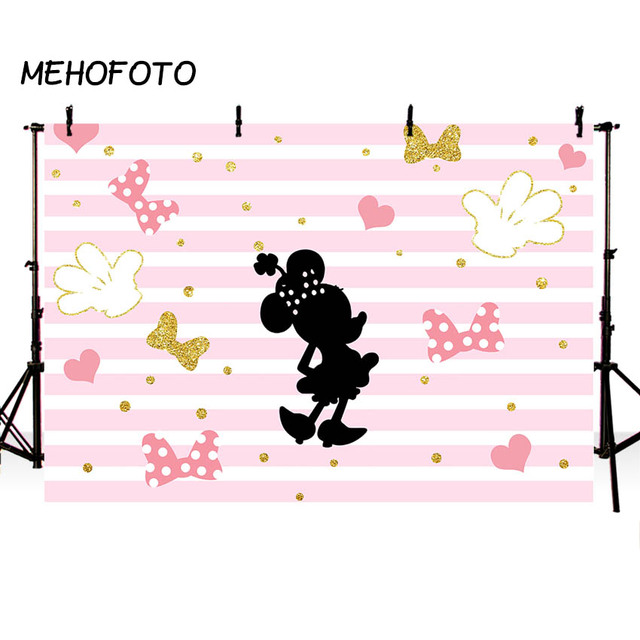 Mehofoto Minnie Mouse Birthday Party Backdrop Pink Stripe