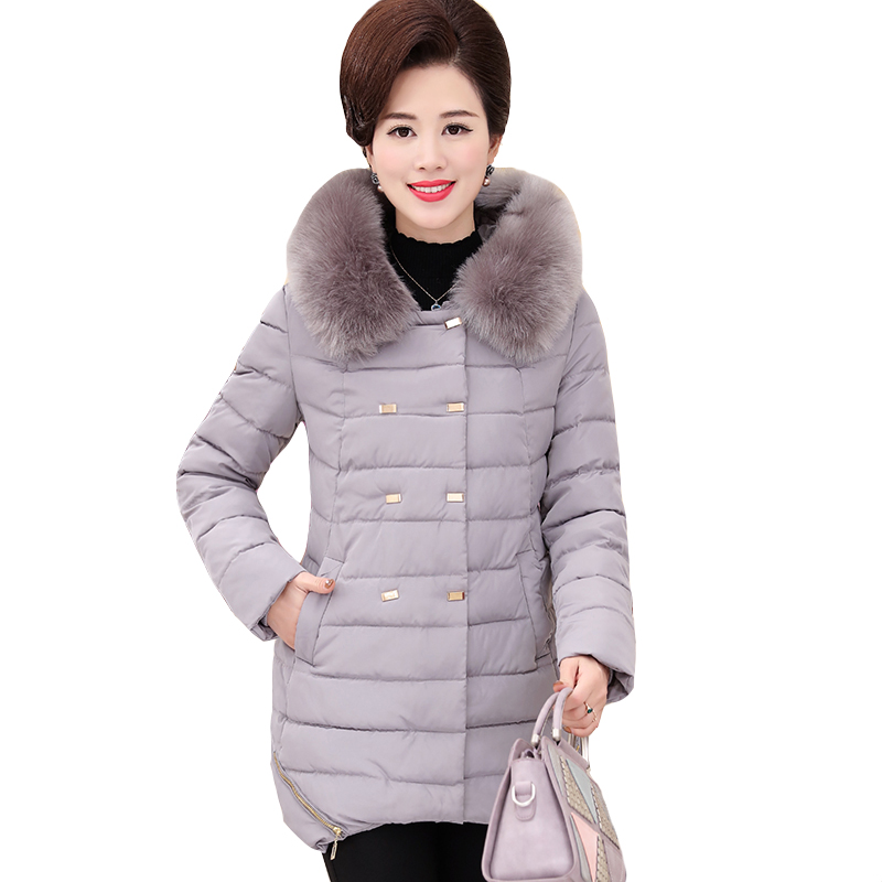 2017 Women 's cotton coat long Mama installed mother down jacket thick winter coat middle - aged women henry cotton s бермуды