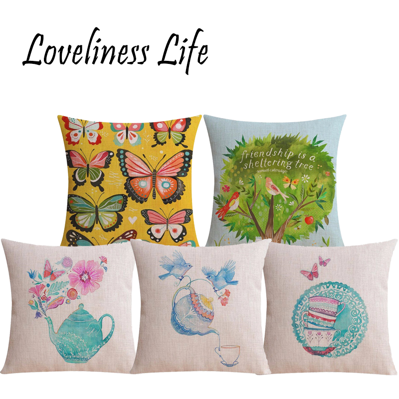 Pastoral Butterfly Floral Cushion Cover Christmas Decoration Cotton Linen Size 45*45 Printed Throw Pillows Decorative Cojines