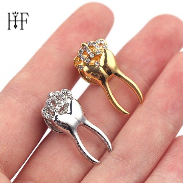 2 pcs Ouro/Cor Prata Pin Broches Com Cristal Crown Dentista Dente Jóias Broches Emblemas pin de Lapela Presente para médico Enfermeira