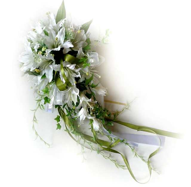 c91aefb3a7b Online Shop White Waterfall Lily Bridal Bouquest Royal Wedding Bouquet For Brides  Flower Drop Shaped Bridal Artificial Holding Flowers