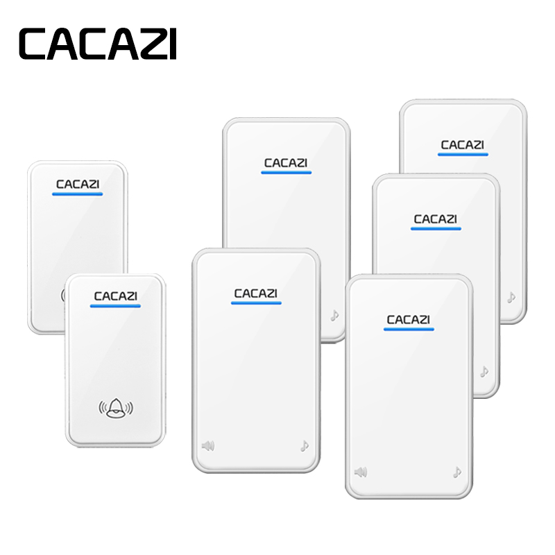 CACAZI Wireless Doorbell Waterproof Battery Button 300M Remote LED Receiver EU Plug Home Cordless Call Bell 48 Chime 6 VolumeCACAZI Wireless Doorbell Waterproof Battery Button 300M Remote LED Receiver EU Plug Home Cordless Call Bell 48 Chime 6 Volume