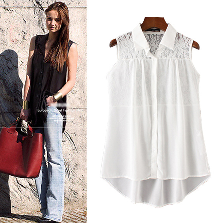 2018 Summer New Women Blouses Chiffon White Girls Clothes Long Blouse