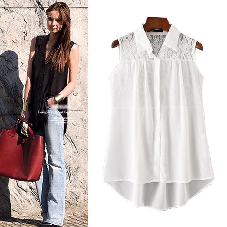 2019 Summer New Women Blouses Chiffon White  Girls Clothes Long Blouse Sleeveless Shirt WCS36207
