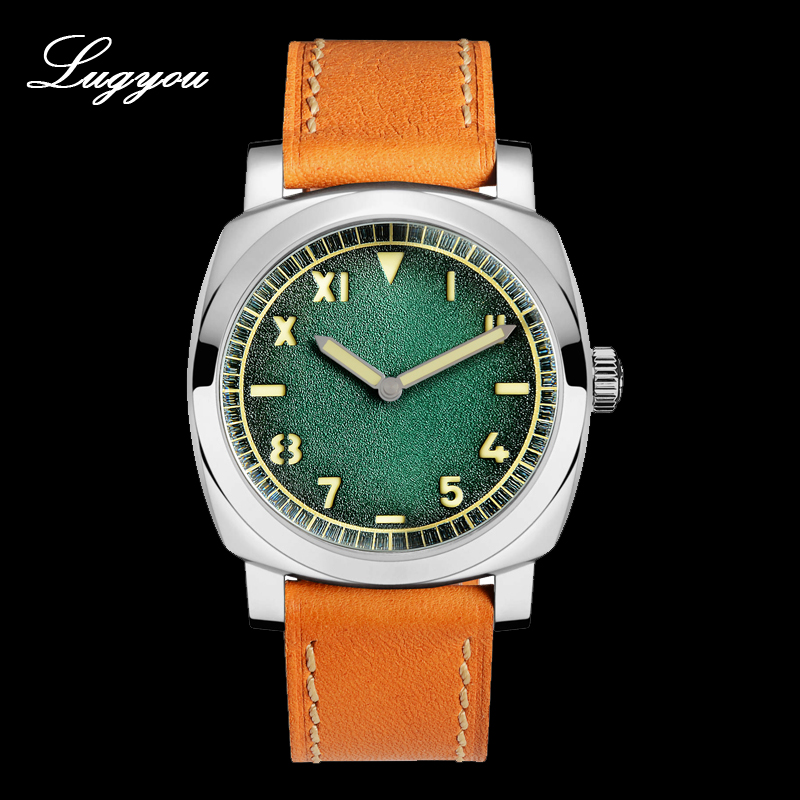 Lugyou San Martin Automatic Men Watch Vintage Stainless Steel Luminous C3 NH35 California Blue Leather 200m WaterproofLugyou San Martin Automatic Men Watch Vintage Stainless Steel Luminous C3 NH35 California Blue Leather 200m Waterproof