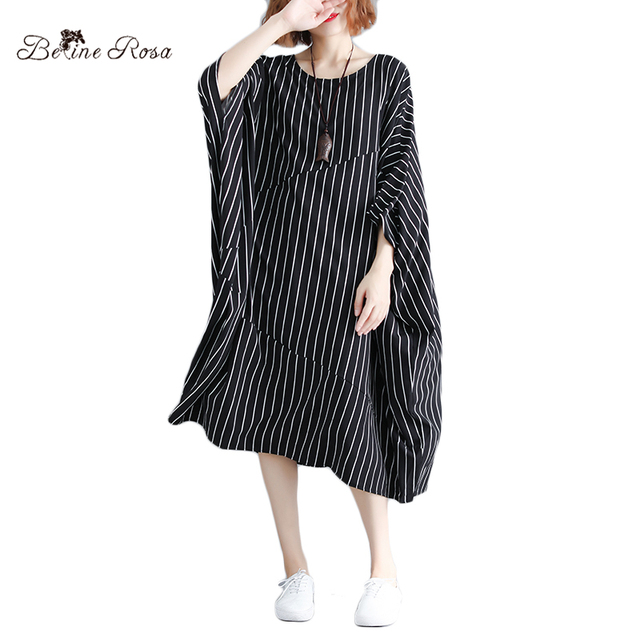 US $19.19 40% OFF|BelineRosa 5XL 6XL Plus Size Dress Women European Casual  Style Striped Black Dresses Big Batwing Sleeve Loose Dress DBFS0010-in ...