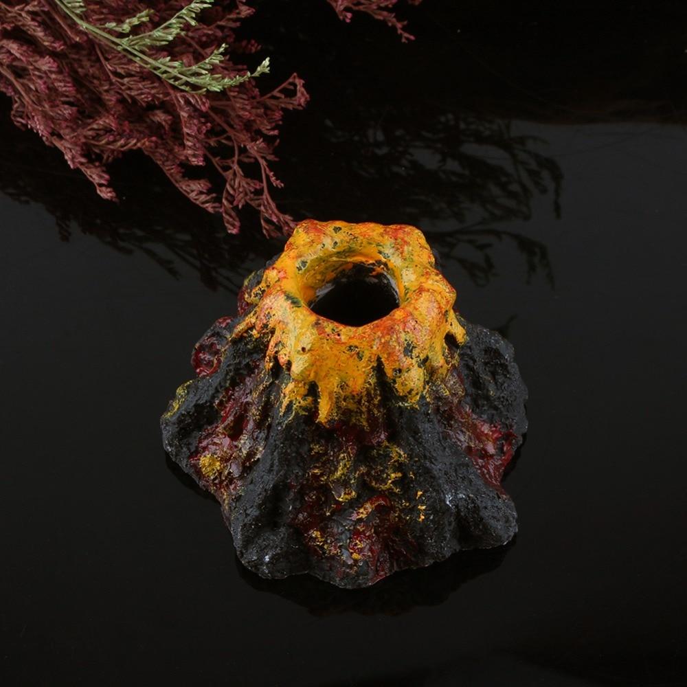 Fish tank volcano - Resin Rockery Volcano Shape Air Bubble Stone Oxygen Pump Aquarium Fish Tank Coral Ornament Decoration For Freshwater