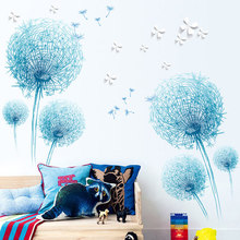 127*180cm Blue Dandelion Living Room Bedroom Home Decor PVC Wall Sticke