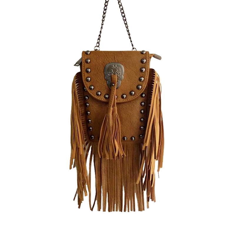NEW Bohemian style women chain PU Leather handbag vintage Skull messenger bag lady tassel fringe shoulder bags Bolsa Feminina new fashion women pu leather shoulder bags vintage tassel female messenger bag ladies handbag clutch bags bolsa feminina dec28