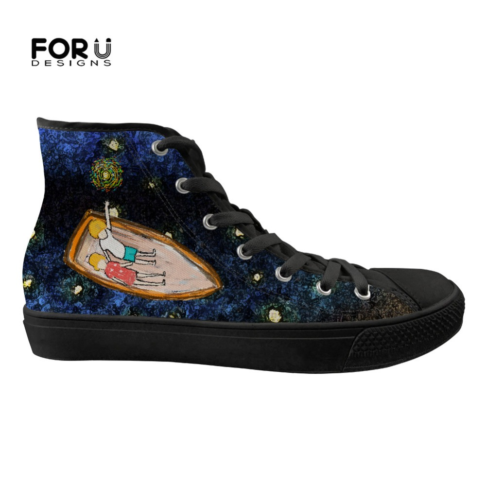 FORUDESIGNS Fashion 3D Hand Paint Art Design Starry Night Design Spring Women Shoes High Top Flats Canvas Sneakers Woman Lace Up-in Women's Flats from Shoes    1