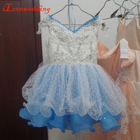 Real Image Little Girls Dresses for Formal Party with Strap Tulle with Beading Sequined Sparking Flower Girl's Dress for Bridal