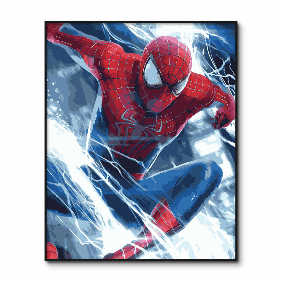 Peter Parker Poster Paint by Number kits Spider Man Painting by Numbers on Canvas Avengers Pictures DIY Painting Wall Art