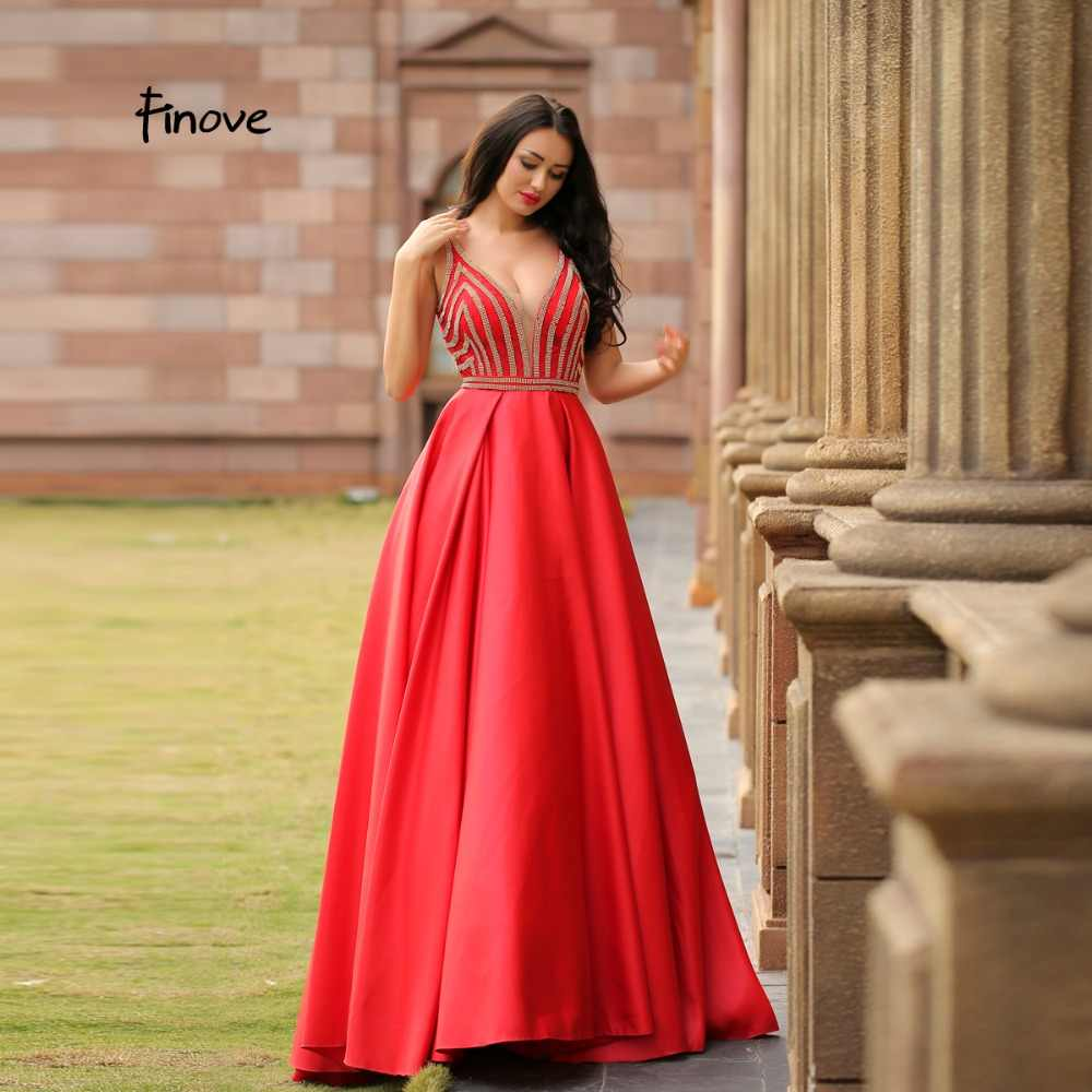 ae7119aab9 Finove 2019 New Reflective Dress Elegant Red Evening Dress Charming Crystal  Beadings Sexy V-Neck Backless Formal Ball Gown Dress